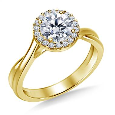 Diamond Halo Solitaire Engagement Ring with Twist Shank in 18K Yellow Gold