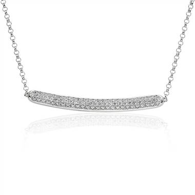 Diamond Pave Bar Necklace in 14k White Gold (5/8 ct. tw.)