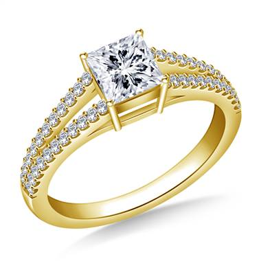 Diamond Split Shank Engagement Ring for Princess Asscher or Cushion Cut in 14K Yellow Gold