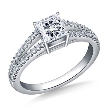 Diamond Split Shank Engagement Ring for Princess Asscher or Cushion Cut in 18K White Gold