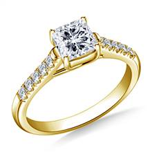 Diamond Trellis Engagement Ring for Princess Asscher or Cushion Cut in 14K Yellow Gold | B2C Jewels