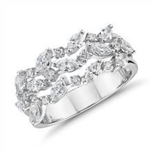 Diamond Triple Row Marquise Vine Fashion Ring in 14k White Gold (1 ct. tw.)   Blue Nile