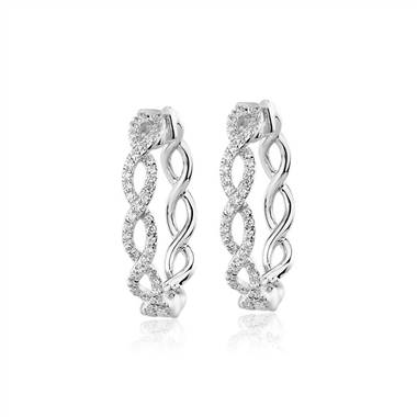 Diamond Twist Hoops in 14k White Gold (1/4 ct. tw.)