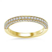 Diamond Wedding Band Vintage Matching Stack Ring in 18K Yellow Gold (3/8 cttw.) | B2C Jewels