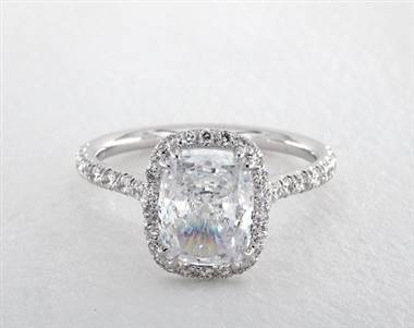 Double Claw Prong Pave Halo Engagement Ring in 1.90mm Platinum (Setting Price)