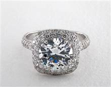 Double Cushion Halo Pave 1.24ctw Engagement Ring in 2.70mm Platinum (Setting Price) | James Allen