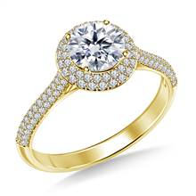 Double Halo Cathedral Diamond Engagement Ring in 14K Yellow Gold | B2C Jewels