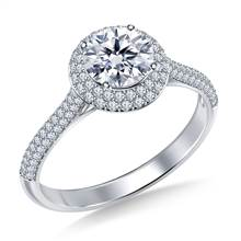 Double Halo Cathedral Diamond Engagement Ring in 18K White Gold | B2C Jewels