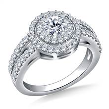 Double Halo Diamond Engagement Ring in 18K White Gold | B2C Jewels