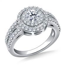 Double Halo Diamond Engagement Ring in Platinum | B2C Jewels