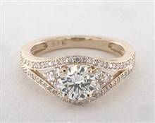 Double Pave Shoulder .63ctw Engagement Ring in 18K Yellow Gold 2.7mm Width Band (Setting Price) | James Allen
