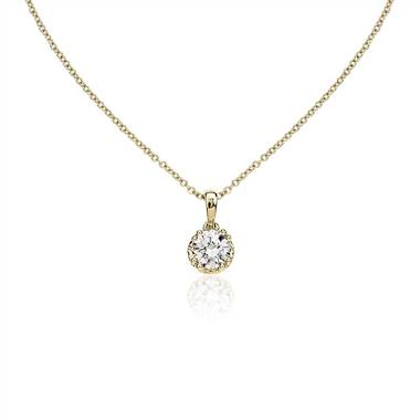 """Double Prong Diamond Pendant with Diamond Crown Basket in 14k Yellow Gold (7/8 ct. tw.)"""