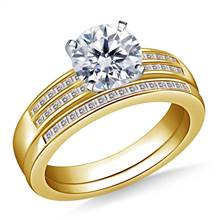 Dual Band Channel Set Princess Cut Diamond Ring with Matching Band in 14K Yellow Gold | B2C Jewels