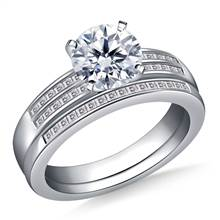 Dual Band Channel Set Princess Cut Diamond Ring with Matching Band in 18K White Gold | B2C Jewels