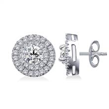 Dual Halo Round Diamond Stud Earrings in 14K White Gold (1.00 cttw) | B2C Jewels