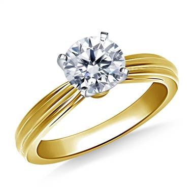 Dual Ridged Solitaire Diamond Engagement Ring in 14K Yellow Gold (2.7 mm)