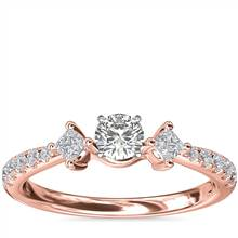 East-West Sidestone and Pave Diamond Engagement Ring in 14k Rose Gold (1/4 ct. tw.) | Blue Nile