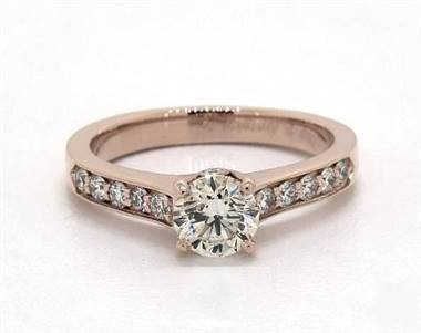 Elegant Cross Prong Pave .34ctw Engagement Ring in 4mm 14K Rose Gold (Setting Price)