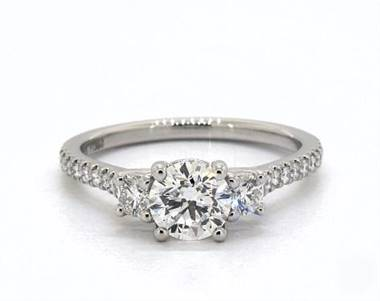 Elegant Three-Stone Pave-Shank Engagement Ring in Platinum 1.8mm Width Band (Setting Price)