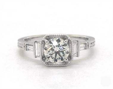 Embellished Basket, Baguette Diamond Engagement Ring in 18K White Gold 1.8mm Width Band (Setting Price)