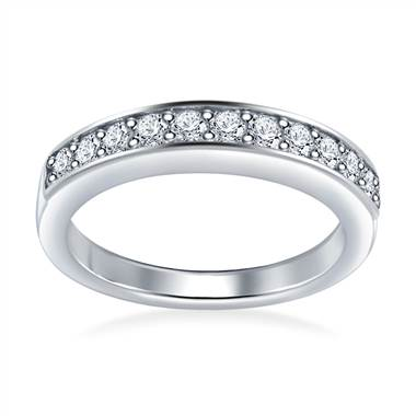 Embellished Pave Set Round Diamond Band in Platinum (0.33 cttw.)
