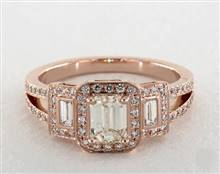 Emerald-Cut-3-Stone Split Shank Engagement Ring in 14K Rose Gold 4mm Width Band (Setting Price) | James Allen