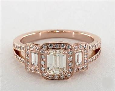 Emerald-Cut-3-Stone Split Shank Engagement Ring in 14K Rose Gold 4mm Width Band (Setting Price)
