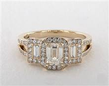 Emerald-Cut-3-Stone Split Shank Engagement Ring in 18K Yellow Gold 4mm Width Band (Setting Price) | James Allen