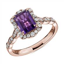 Emerald Cut Amethyst Ring with Diamond Halo in 14k Rose Gold | Blue Nile