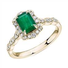 Emerald Cut Emerald Ring with Diamond Halo in 14k Yellow Gold | Blue Nile