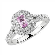 Emerald Cut Pink Sapphire Double Halo Ring in 14k White Gold (5x3mm) | Blue Nile