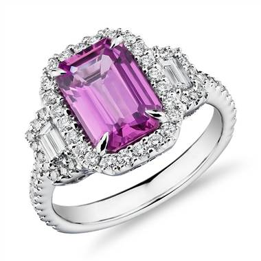 """Emerald-Cut Pink Sapphire Ring with Diamond Trapezoid Sidestones in 18k White Gold (9.7x6.6mm)"""