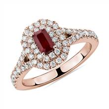 Emerald Cut Ruby and Diamond Double Halo Ring in 14k Rose Gold (5x3mm) | Blue Nile