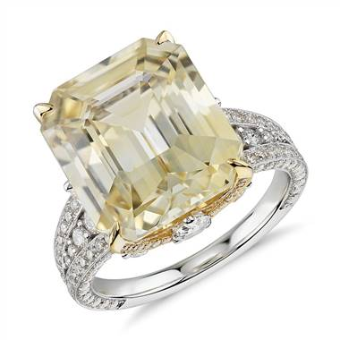 Emerald-Cut Yellow Sapphire and Diamond Ring in 18k White and Yellow Gold (12.03 ct. tw. center)