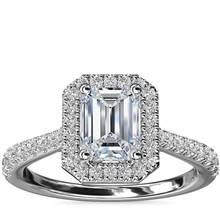 Emerald Diamond Bridge Halo Diamond Engagement Ring in Platinum (1/3 ct. tw.) | Blue Nile