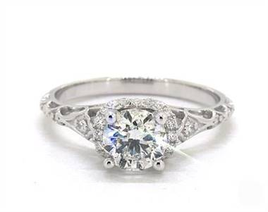 Enchanted Petite Filagree Engagement Ring in Platinum 4mm Width Band (Setting Price)
