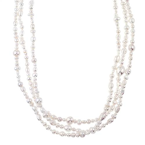 Endless White Pearl Strand Necklace