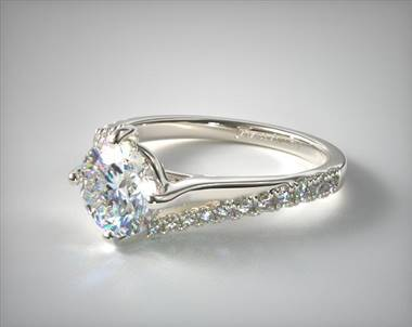 Engagement Ring in 18K White Gold 1.5mm Width Band (Setting Price)