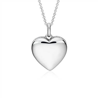 Engravable Infinity Heart Pendant in Sterling Silver