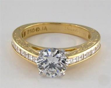 Engraved Carre Diamond Channel .60ctw Engagement Ring in 4mm 18K Yellow Gold (Setting Price)