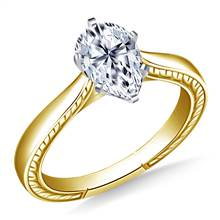 Engraved Cathedral solitaire Engagement Ring  in 14K Yellow Gold (2.9 mm)   B2C Jewels