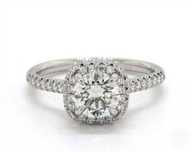 Falling Edge Cushion Halo Pave .32ctw Engagement Ring in 14K White Gold 1.8mm Width Band (Setting Price)