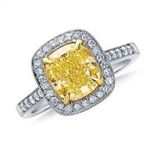 Fancy Intense Yellow Canary Cushion Cut Diamond Pave Halo Ring in 18K White Gold | B2C Jewels