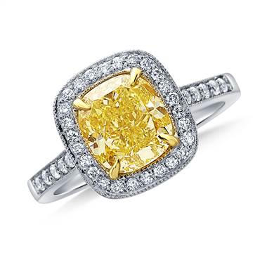 Fancy Intense Yellow Canary Cushion Cut Diamond Pave Halo Ring in 18K White Gold