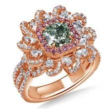 Fancy Light Bluish Green Radiant cut Diamond Floral Ring in 18K Rose Gold (3 3/8 cttw.) | B2C Jewels