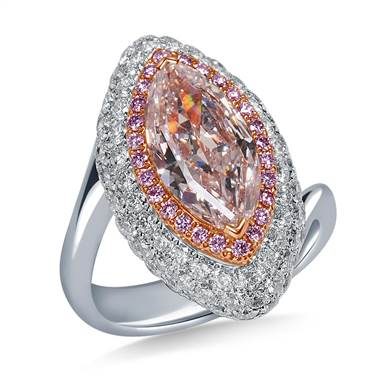 Fancy Light Pink Diamond with Twisted Shank in 18K Two Tone Gold (4.00 cttw.)