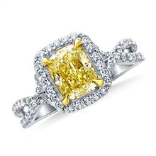 Fancy Light Yellow Canary Cushion Cut Diamond Crossover Twist Ring in 18K White Gold | B2C Jewels