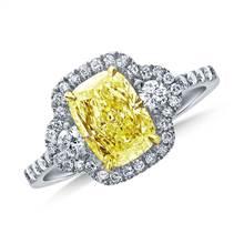Fancy Light Yellow Canary Cushion Cut Diamond Three Stone Halo Ring in 18K White Gold | B2C Jewels