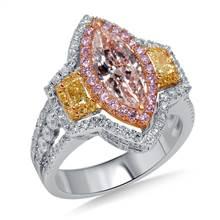 Fancy Multicolored Diamond Halo Ring in 18K Three Tone Gold (3 1/2 cttw.) | B2C Jewels