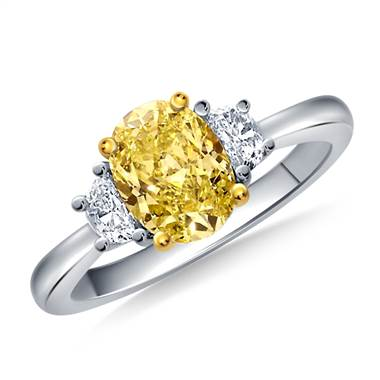 Fancy Yellow Canary Oval Cut Diamond Three Stone Ring in 14K White Gold